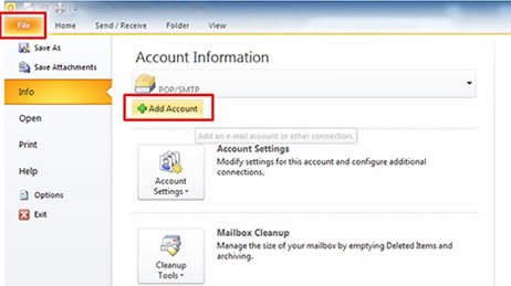 How to setup 1and1 email account in Outlook 2010 - Web